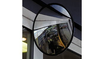Circular mirror with convex surface and adjustable arm