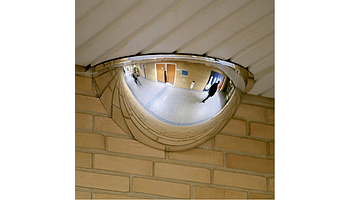 Hemispherical mirror with the coverage of 180 degrees