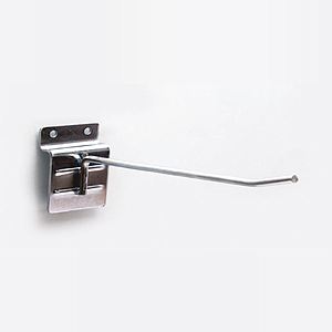 GALVANIZED SIMPLE HOOK, D 4,8 MM, WITH FIXING ON SLATWALL PANELS