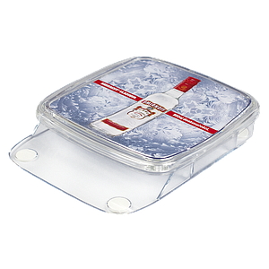 PLASTIC CASH TRAY, WITH AN INFERIOR POCKET SIZE 195X140X20 MM, FLEYER SIZE 149X149 MM, AND TOTAL CASH TRAY SIZE 206X175X40 MM