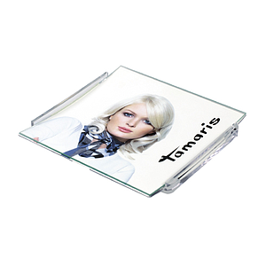 PLASTIC RECTANGULAR CASH TRAY, 150X160X15 MM WITH 2 MM GLASS SURFACE, FOR 140X150 MM PRINT
