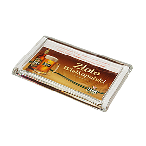 RECTANGULAR GLASS CASH TRAY, 220X140X18 MM, 186X150 MM PRINT SIZE