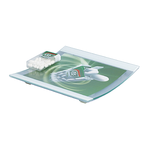 SQUARE GLASS CASH TRAY WITH 1 MM PET SURFACE, 180X180X22 MM, 179X140 MM PRINT SIZE