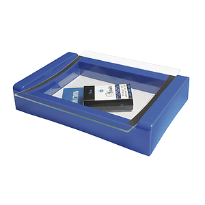 PLASTIC CASH TRAY WITH 2 MM GLASS SURFACE, 270X180X50 MM, FOR PRINT WITH 198X138 MM