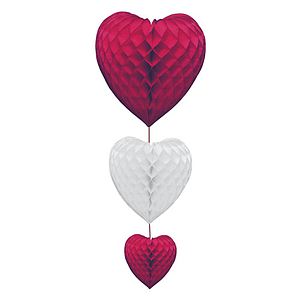 3 HEARTS ORNAMENTAL CHAIN, DIFFERENT SIZES, MADES OF WHITE / RED PAPER, 900 MM HEIGHT