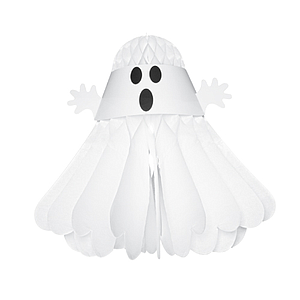 HALLOWEEN  GHOST ORNAMENT MADE OF WHITE PAPER, 360 MM HEIGHT