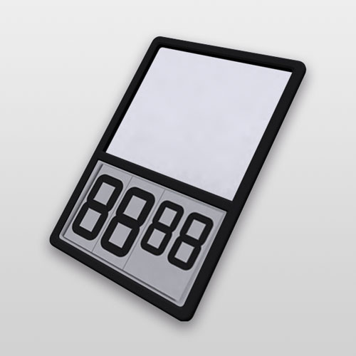 PIVOT PRICER DISPLAY, A4P, 2X80PP, 1X60PP, SIMPLE SIDE, WHITE DIGITS, BLACK BASE
