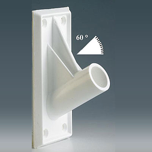 FIXING ADHESIVE SUPPORT FOR 18,5 MM D TUBES, 60 DEGREES ANGLE, 50X115 MM BASE SIZE