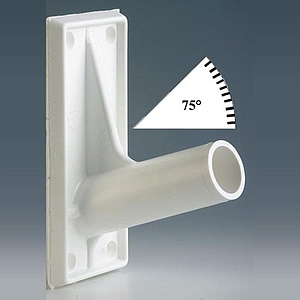 FIXING ADHESIVE SUPPORT FOR 18,5 MM D TUBES, 75 DEGREES ANGLE, 50X115 MM BASE SIZE