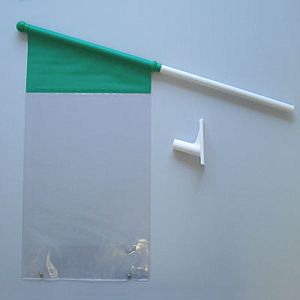 FLAG WITH ADHESIVE FIXING HANGER, 700 MM TUBE LENGTH, 18,5 MM D, AND A3P POCKET