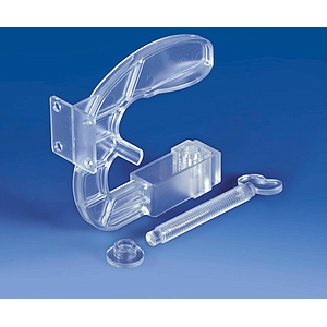 PLASTIC CLAMP HOLDER, 98X98 MM, 4 FRONTAL HOLES, FOR MAX 40 MM SHELF THICKNESS