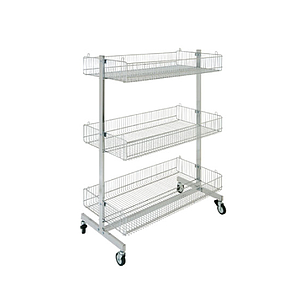 PROMOTIONAL CHROMED STAND, 1340X1000 MM (HXW) MADE OF THREE OVERLAPPED BASKETS