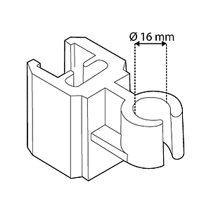 TUBE CLIP FOR FRAMES SERIES 2, FIXING ON D 16 MM