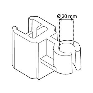 TUBE CLIP FOR FRAMES SERIES 2, FIXING ON D 20 MM