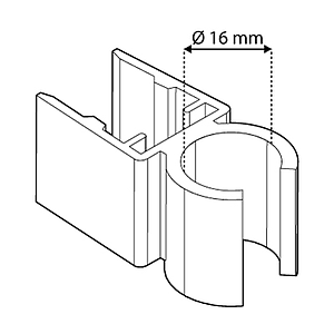 TUBE CLIPS FOR FRAMES SERIES 500, FOR 16 MM D TUBES