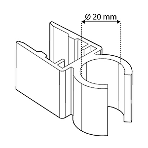 TUBE CLIPS FOR FRAMES SERIES 500, FOR 20 MM D TUBES