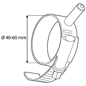 PIPE-CLIP TO FIX FRAMES, D 40-60 MM, FITS WITH T-PIECE