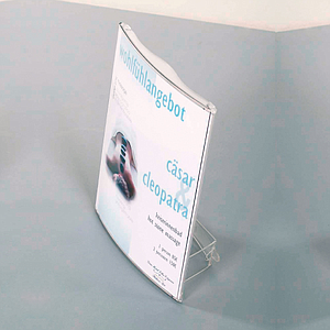 QUICKFIX DISPLAY MADE OF POLYCARBONATE, A3P, WITH SUPPORT