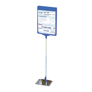 SHOWCARD STAND N WITH ADJUSTABLE TUBE 320-620 MM, STAINLESS STEEL BASE, A4P