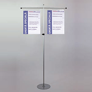GALLOW SHOWCARD STAND, 2 GALLOWS 2X400 MM, FIXED TUBE H 1600 MM