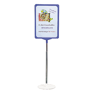 SHOWCARD STAND L, A5P FRAME, ADJUSTABLE TUBE 320-620 MM, WHITE, BLACK OR GRAY BASE