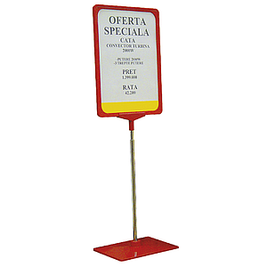 SHOWCARD STAND K WITH ADJUSTABLE TUBE 320-620 MM, PLASTIC BASE, A4P