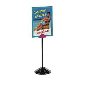 SHOWCARD STAND DEKO, A4P, FIXED TUBE 320 MM, BLACK OR SILVER STEPPED BASE