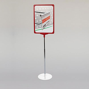 SHOWCARD STAND K ROUND, A3P FRAME, ADJUSTABLE TUBE 320-620 MM, ROUND BASE