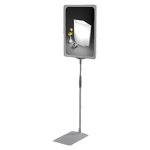 SHOWCARD STAND K ECO, RECTANGULAR BASE, TELESCOPIC TUBE 320-620 MM, TRANS T PIECE