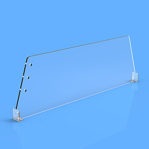 "DIVIDER 120X585 MM (HXL), WITH TWO FIXING POINTS, ""T"" FRONT 20X24 MM ON BOTH ENDS"