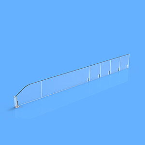 "PET DIVIDER 50X485 MM (HXL), ""L"" FRONT IN RIGHT SIDE, 12X30 MM, BREAKING POINTS TO EVERY 50 MM"