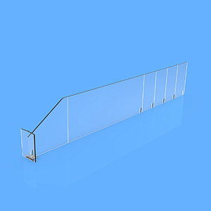 "PET DIVIDER 90X485 MM (HXL), WITH TWO FIXING POINTS, ""T"" FRONT 25X50 MM"