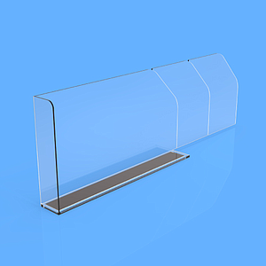 "PET DIVIDER 80X255 MM, WITH ""L"" FRONT RIGHT 20X50 MM, TWO BRAKING POINTS AT 155 MM OR 205 MM, MAGNETIC BASE"