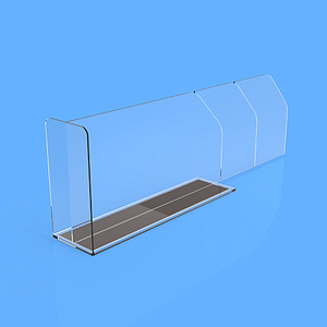 "PET DIVIDER 80X255 MM, WITH ""T"" FRONT 35X50 MM, TWO BRAKING POINTS AT 155 MM OR 205 MM, MAGNETIC BASE"