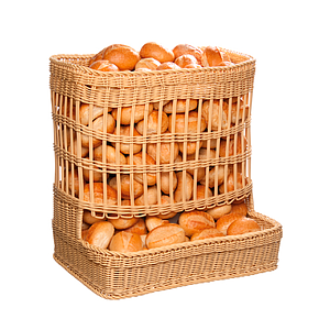 BRAIDED BASKET WITH RECTANGULAR BASE, 600X400 MM (LXl) AND CIRCULARLY TRUNK, TOTAL HEIGHT 600 MM