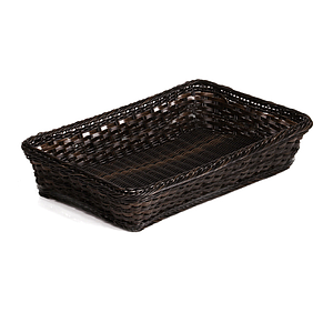 BRAIDED RECTANGULAR GN 1/4 BASKET MADE OF PLASTIC, BASE SIZE: 265X162X100 MM (LXlXH)