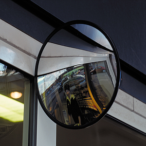 CIRCULAR MIRROR WITH CONVEX SURFACE AND ADJUSTABLE ARM, 300 MM DIAMETER