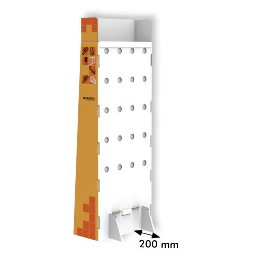 DISPLAY 300x640x1600+200 MM HEADER - CORRUGATED CARDBOARD